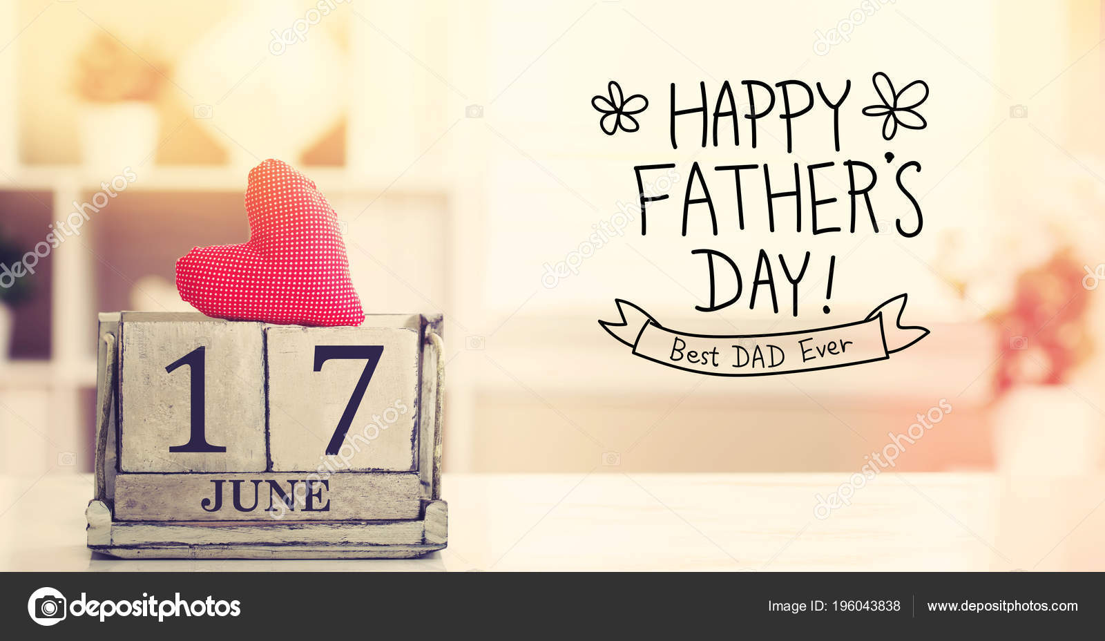 17 june happy fathers day message with calendar stock photo
