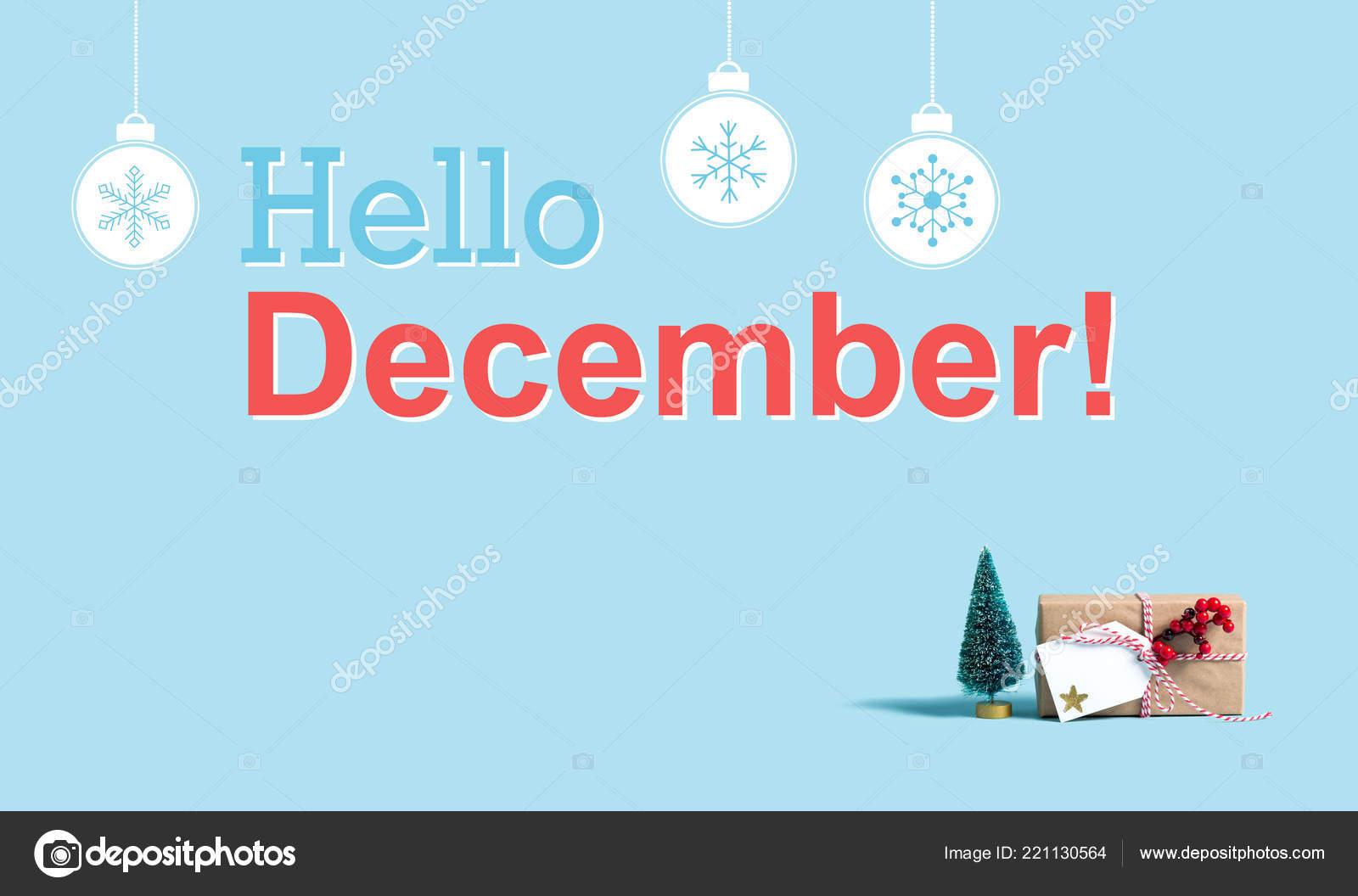 Hallo Dezember Nachricht mit Weihnachts-Geschenk-Box und Baum ...