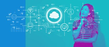 Cloud computing with young businesswoman