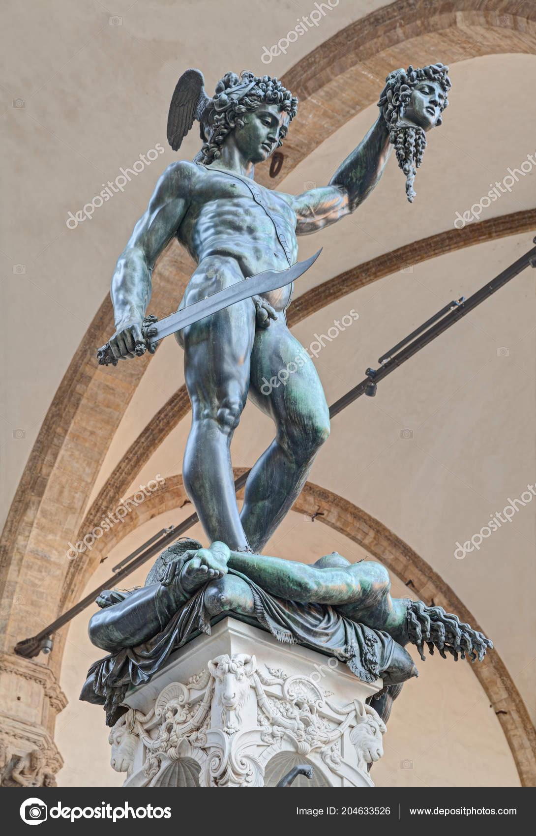 Perseus Head Medusa Famous Bronze Statue Benvenuto Cellini