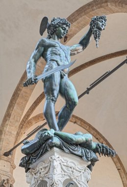 Perseus with the Head of Medusa, the famous bronze statue by Benvenuto Cellini in Florence, Italy