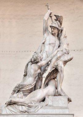 Florence, Loggia della Signoria, the antique marble sculpture The Rape of Polyxena, inspired by Greek mythology, of Pio Fedi