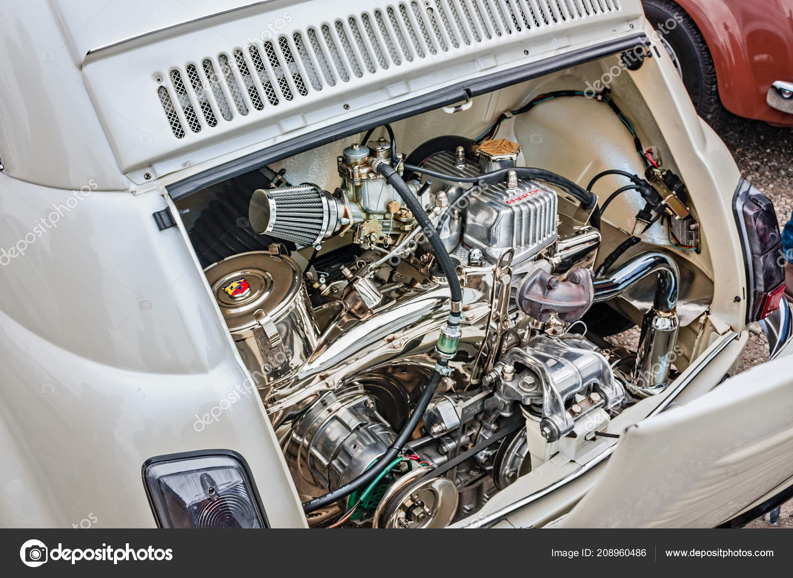 Shiny Chromed Abarth Engine Tuned Vintage Car Fiat 500 Parked