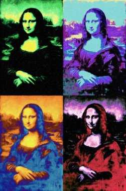 Mona Lisa of Leonardo da Vinci painting in pop art style Andy Warhol inspired