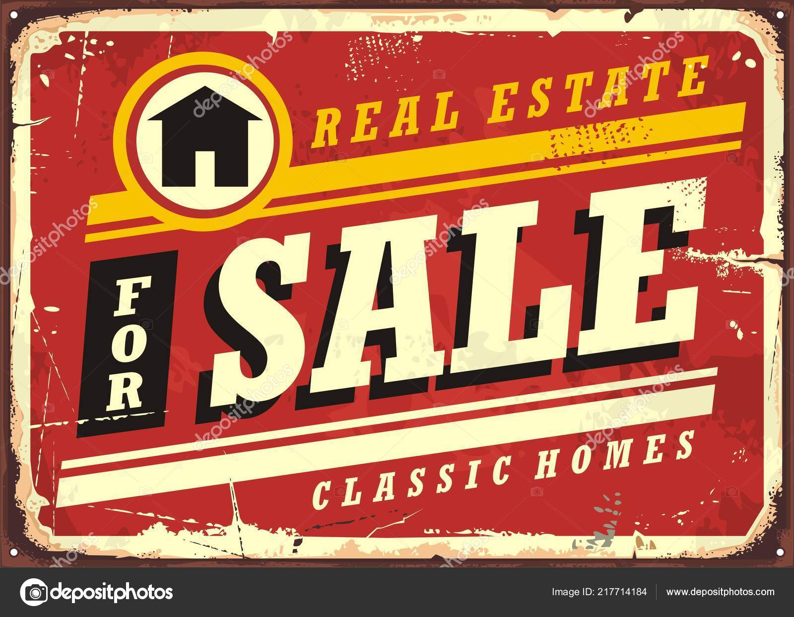 real estate sale retro tin sign design layout homes buildings