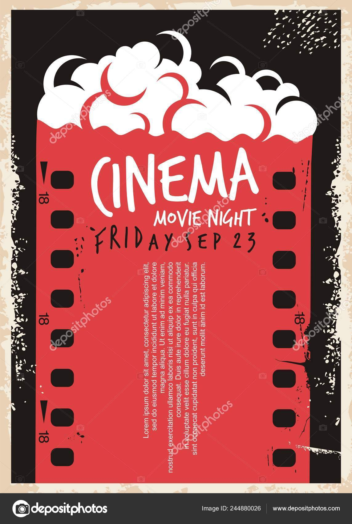 Movie Night Flyer Templates Cinema Movie Poster Film Strip
