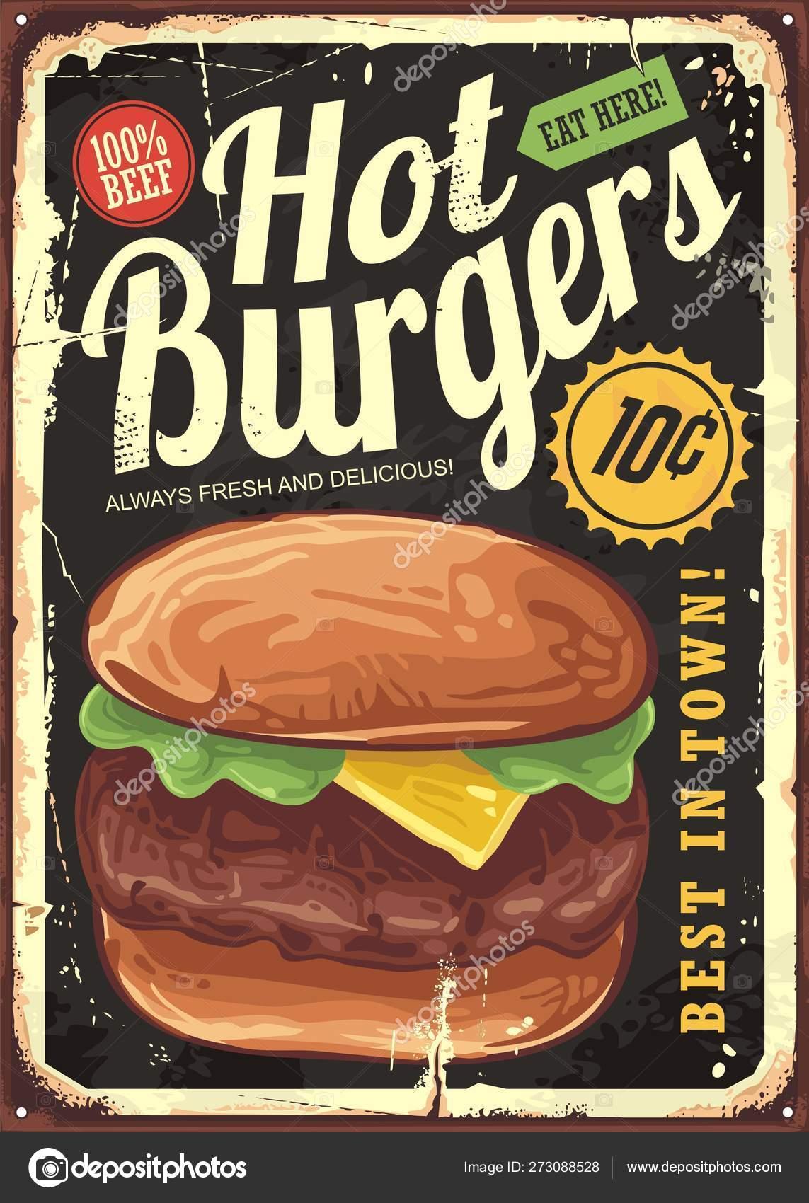 Hot Burgers Vintage Restaurant Sign Retro Poster Design Big Hamburger Stock Vector C Lukeruk 273088528