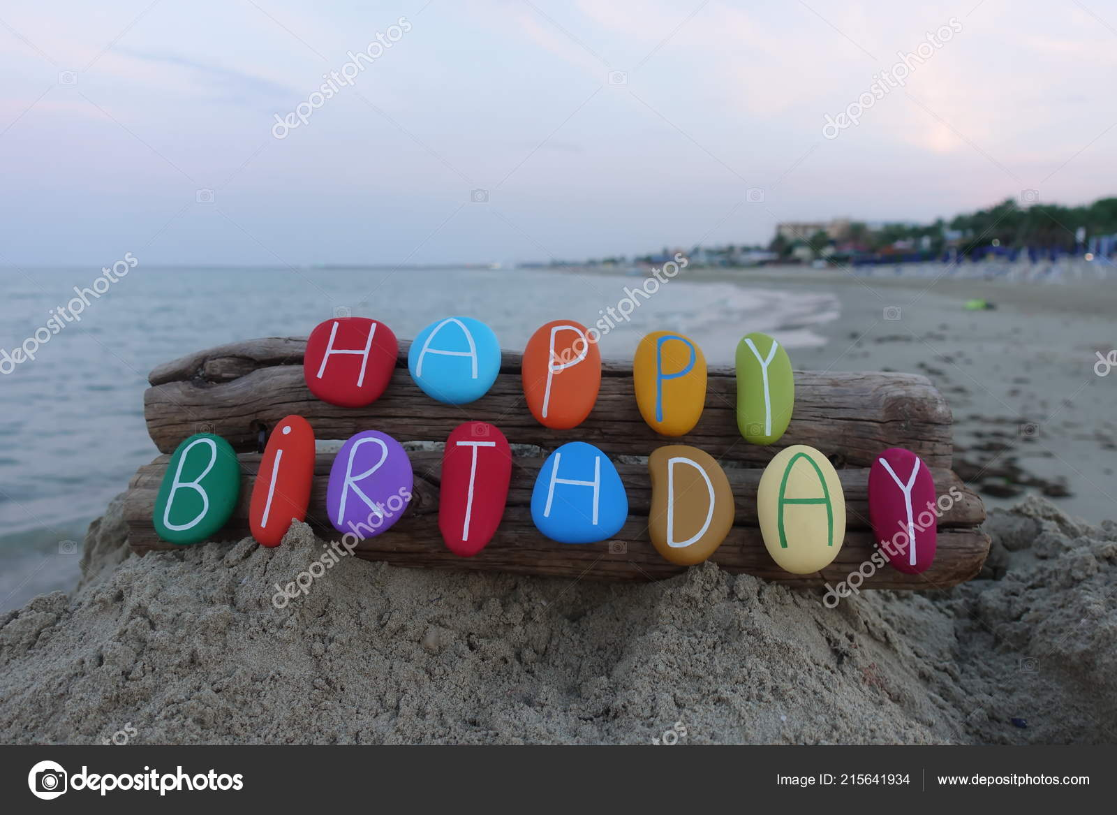 Happy Birthday Message Multi Colored Stones Two Pieces Wood Sea Stock Photo C Ciaobucarest 215641934