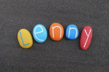 Lenny, masculine given name composed with colored stones over black volcanic sand