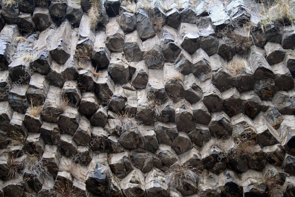 Armenia - Symphony of the Stones, geological rock formation basalt columns in the gorge near Garni