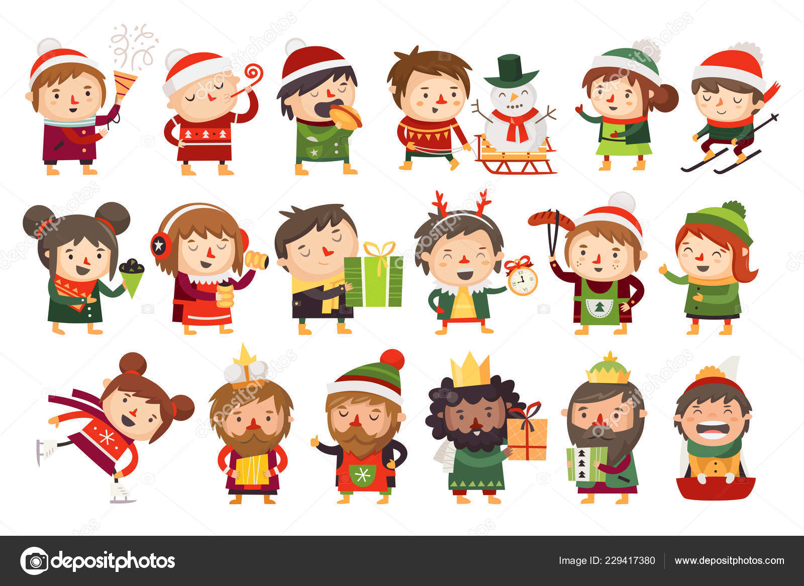 Christmas Illustrations.Christmas Characters Children Adults Celebrating Upcoming