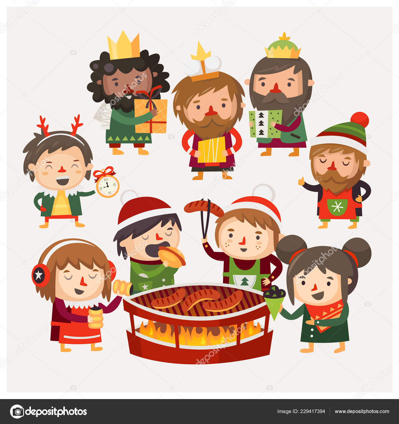 Christmas Festival Cartoon Images.Cartoon People Christmas Market Exchanging Gifts Eating
