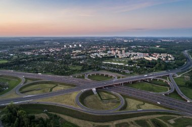 Aerial drone view on highway junction. Gliwice, Silesia, Poland