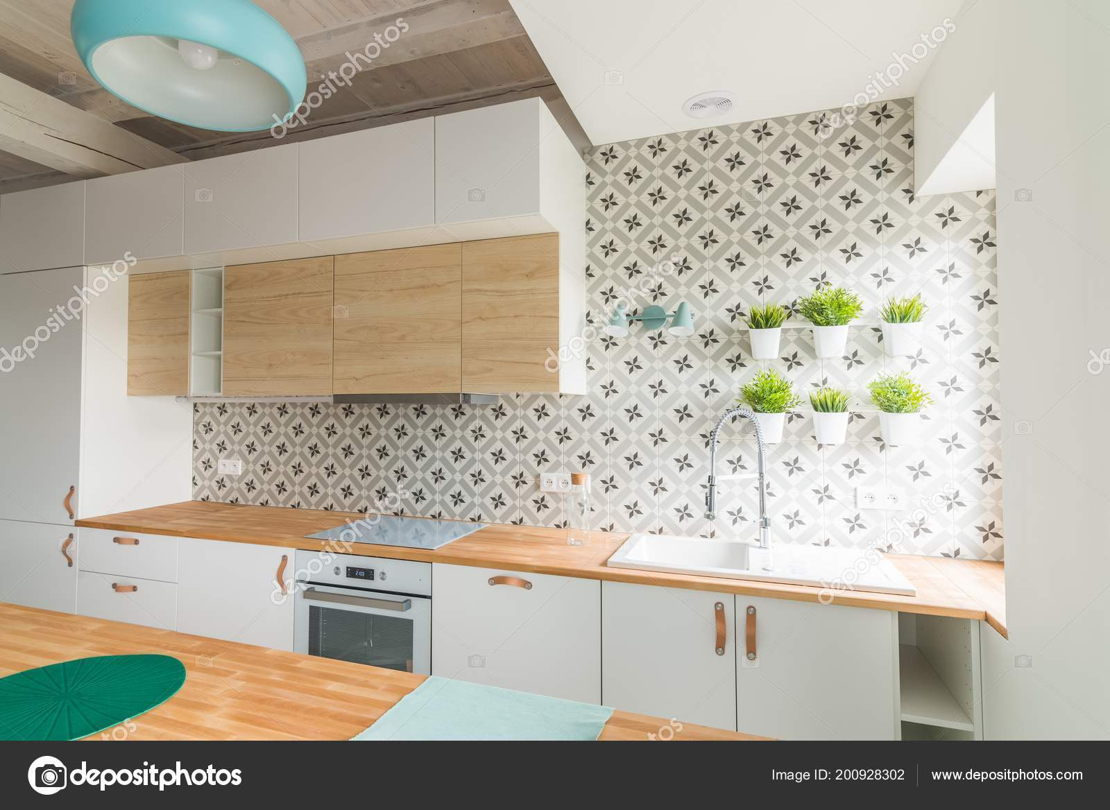 Modern White Kitchen Cabinets Induction Hob Open Bright