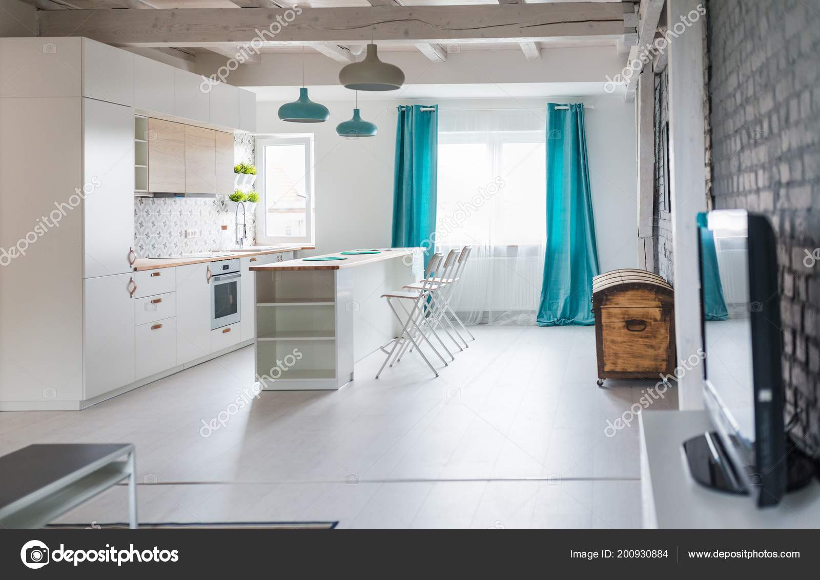 Cocina Loft Con Muebles Blancos Cocina Isla Lámparas Color ...