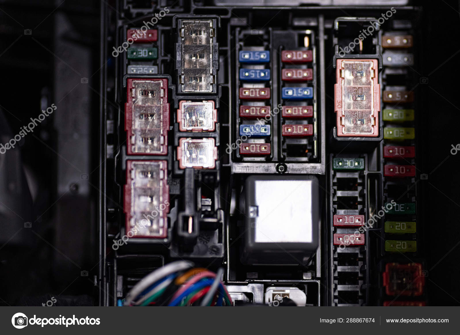 car fuse box purpose car fuse box with fuses and relays     stock photo    djedzura 288867674  car fuse box with fuses and relays