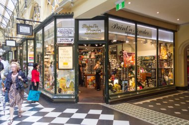 Melbourne, Australia - 18th March 2013: Royal Arcade shopping street. Opened in 1870 the arcade is the oldest in the country.