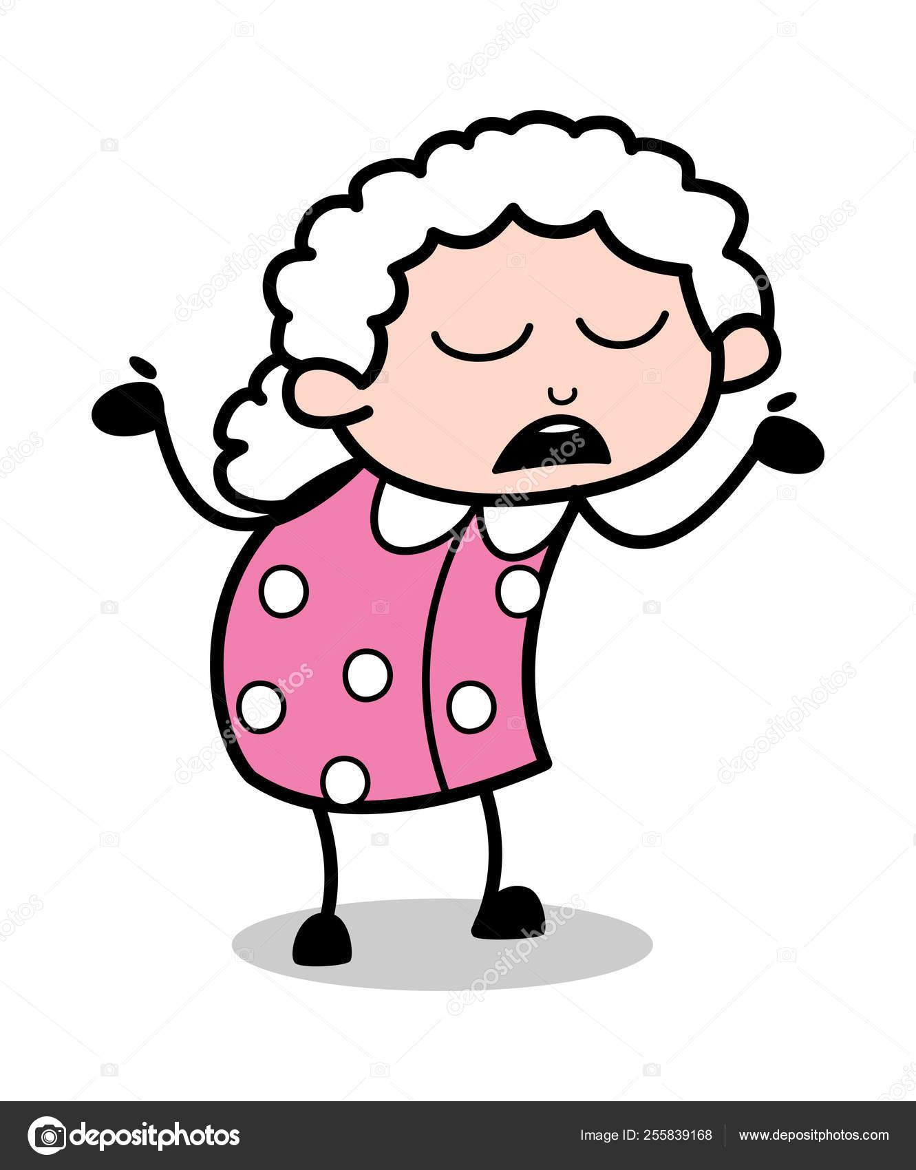 無知 古い漫画おばあちゃんベクトルイラスト ストックベクター