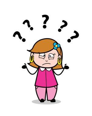 Distraught - Retro Cartoon Female Housewife Mom Vector Illustrat