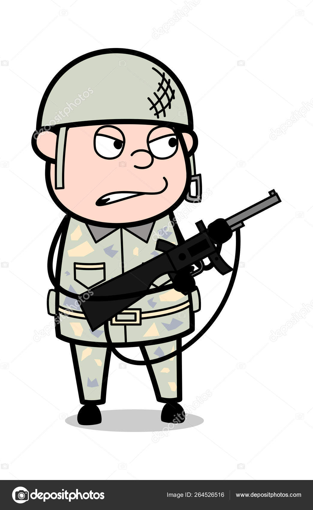 Angry Officer with Gun - Cute Army Man Cartoon Soldier