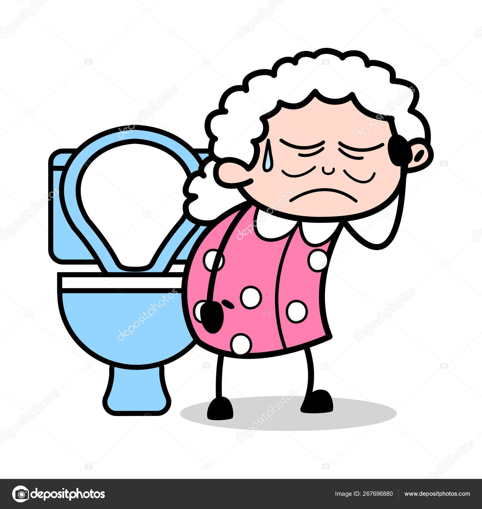 Constipation Old Woman Cartoon Granny Vector Illustration Stock Vector C Lineartist 267696880