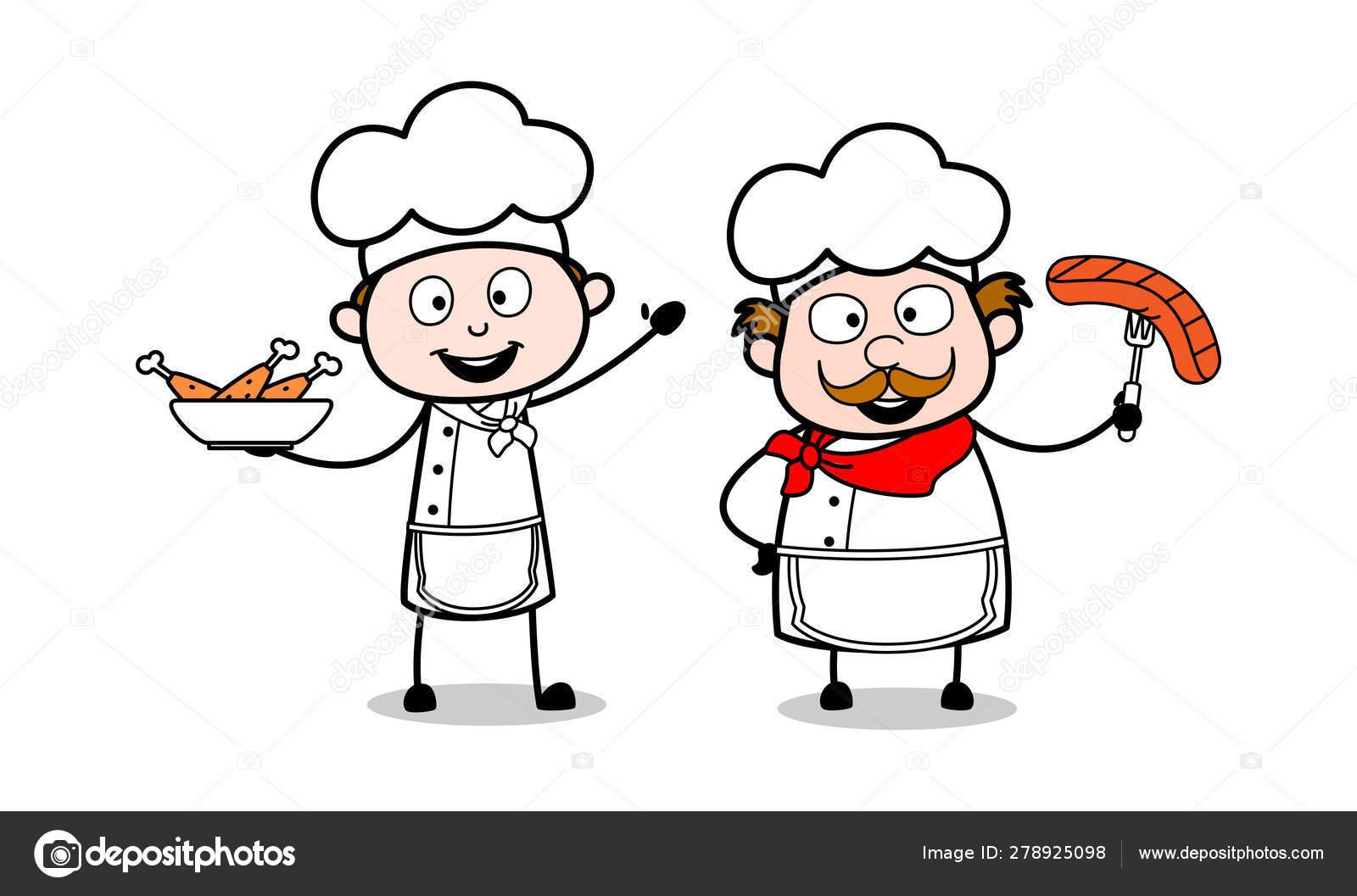 Presenting Non Veg Food Cartoon Waiter Male Chef Vector Illust Stock Vector C Lineartist 278925098