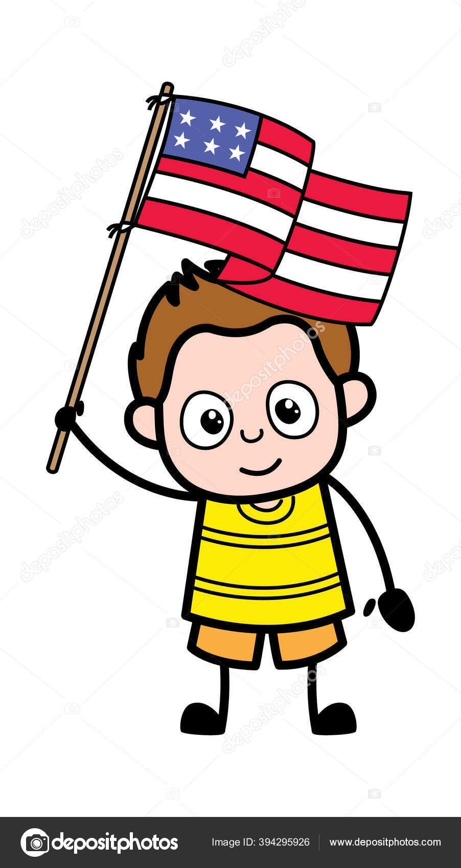 Cartoon Young Boy Holding Flag Usa Vector Image By Lineartist Vector Stock 394295926