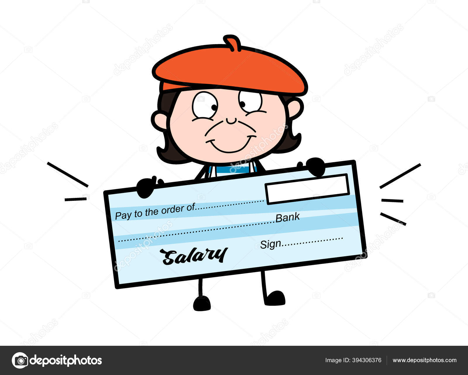 Cartoon Artist Holding Paycheck Stock Vector C Lineartist 394306376