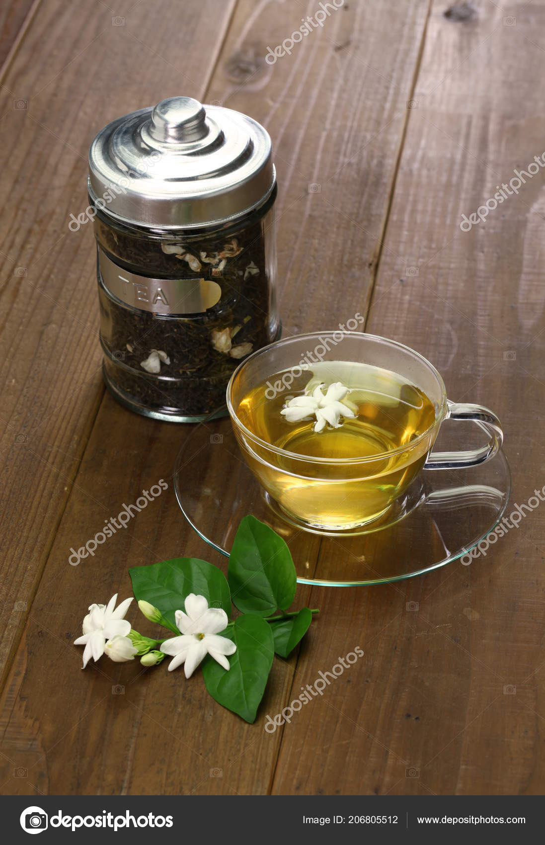 Homemade Jasmine Tea Arabian Jasmine Flower Stock Photo Asimojet