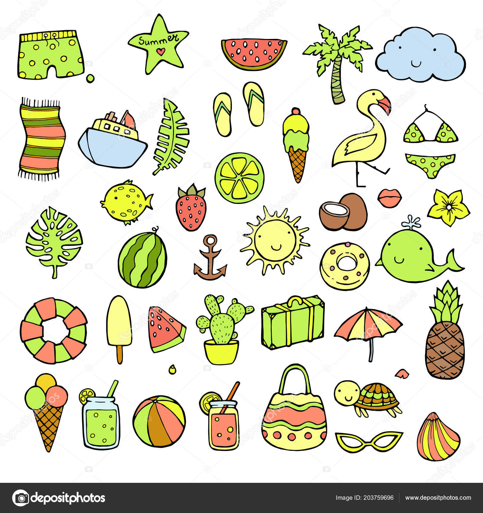 Hand drawn summer icons set  Doodle icon style  Tropical