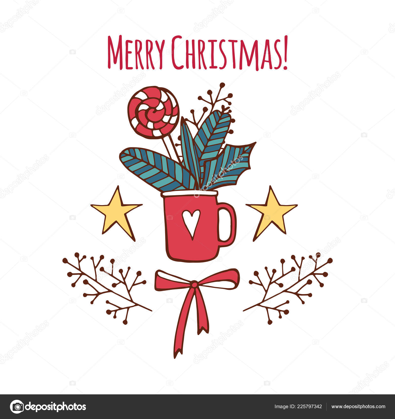 vector merry christmas and happy new year greeting card set with cute sweet candy and hand
