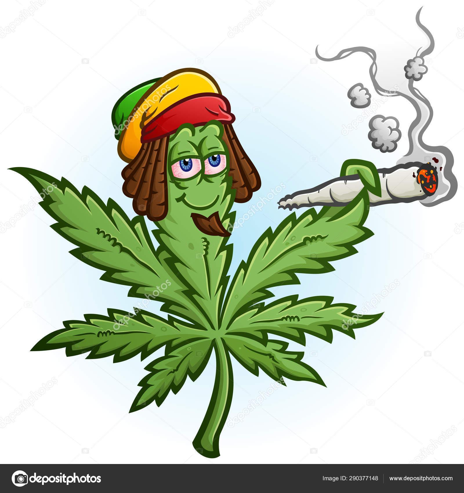 Cheerful Marijuana Vector Cartoon Character Getting High Smoking