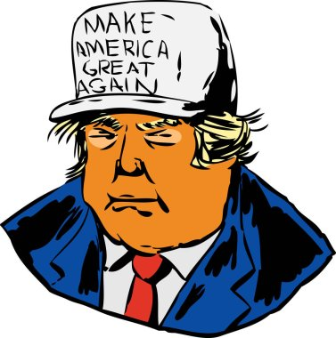 December 12, 2017. Caricature of President Donald J. Trump wearing a MAGA hat over white background
