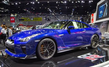 Bangkok, Thailand - August 22, 2018: Nissan GTR model 2019 presented in Big Motor Sale 2018