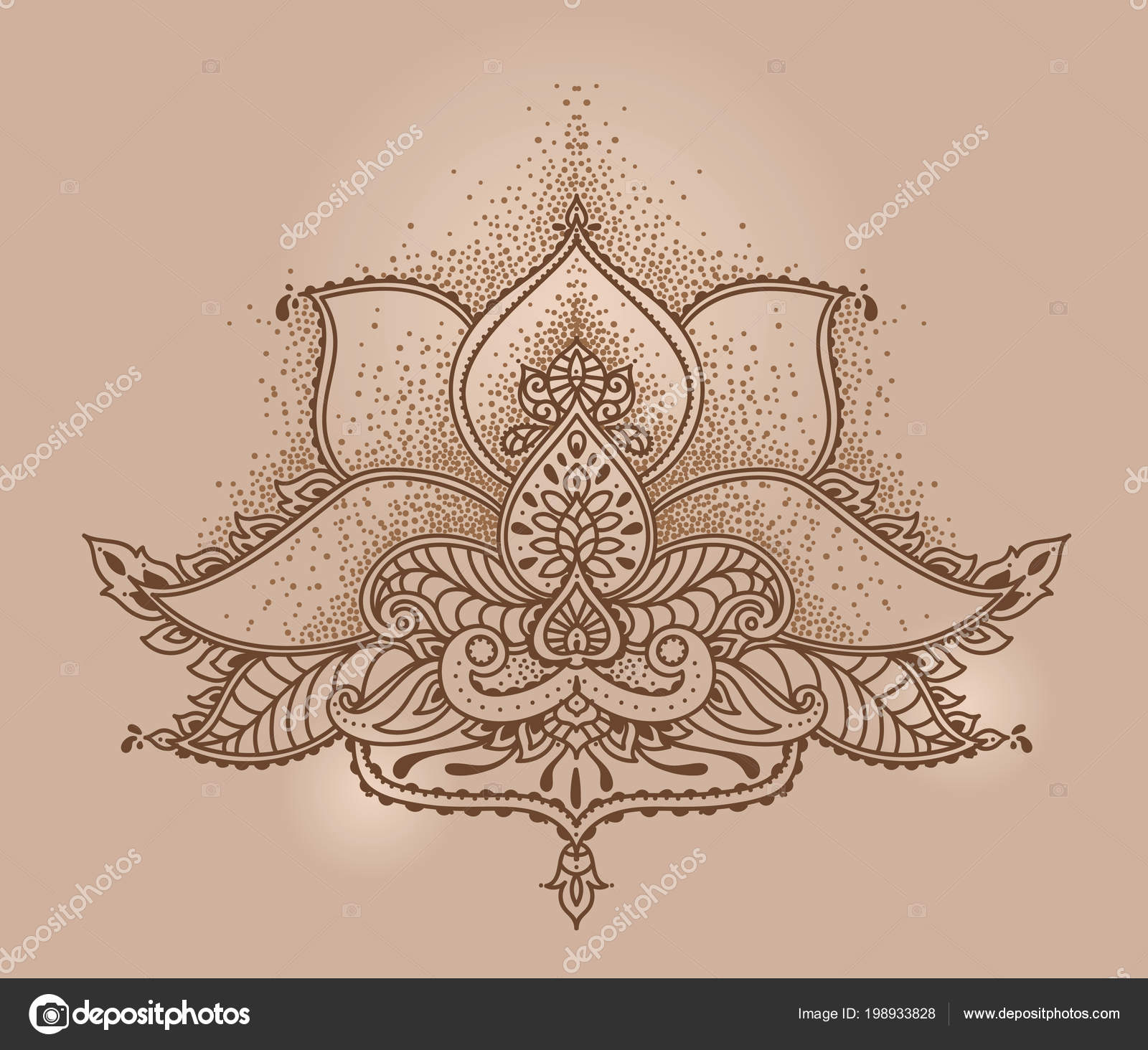 Stylized Lotus Flower Indian Mehndi Style Can Used Tattoo Mehndi