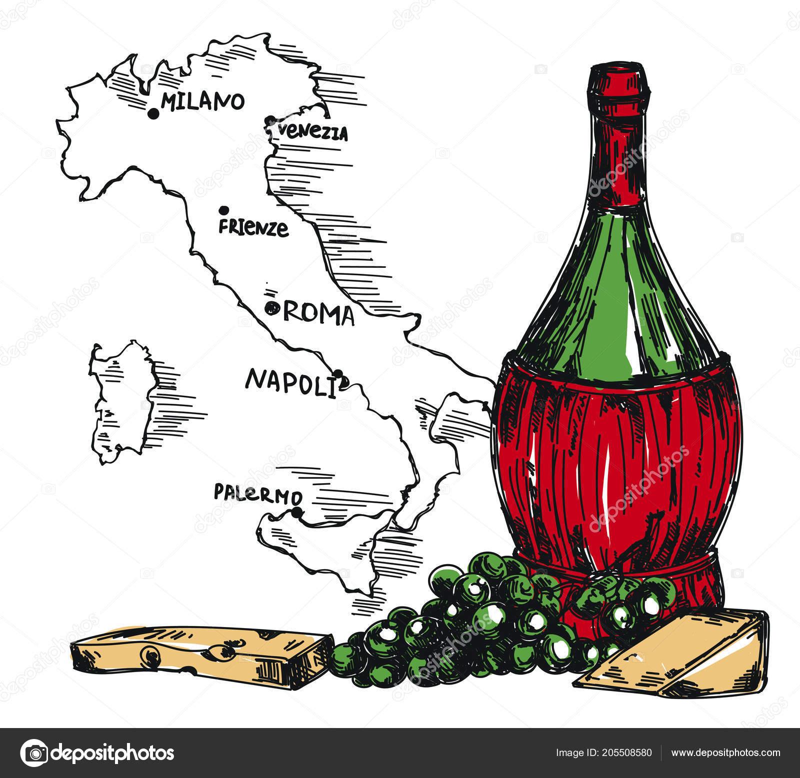 Karta Italien Chianti.Kort Med Gammaldags Vinflaska Och Italien Karta Chianti Flaska
