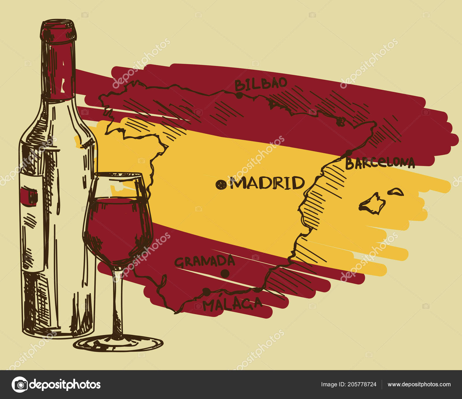 Spain Map Flag.Card Wine Bottle Glass Spain Map National Flag Colors Can Stock