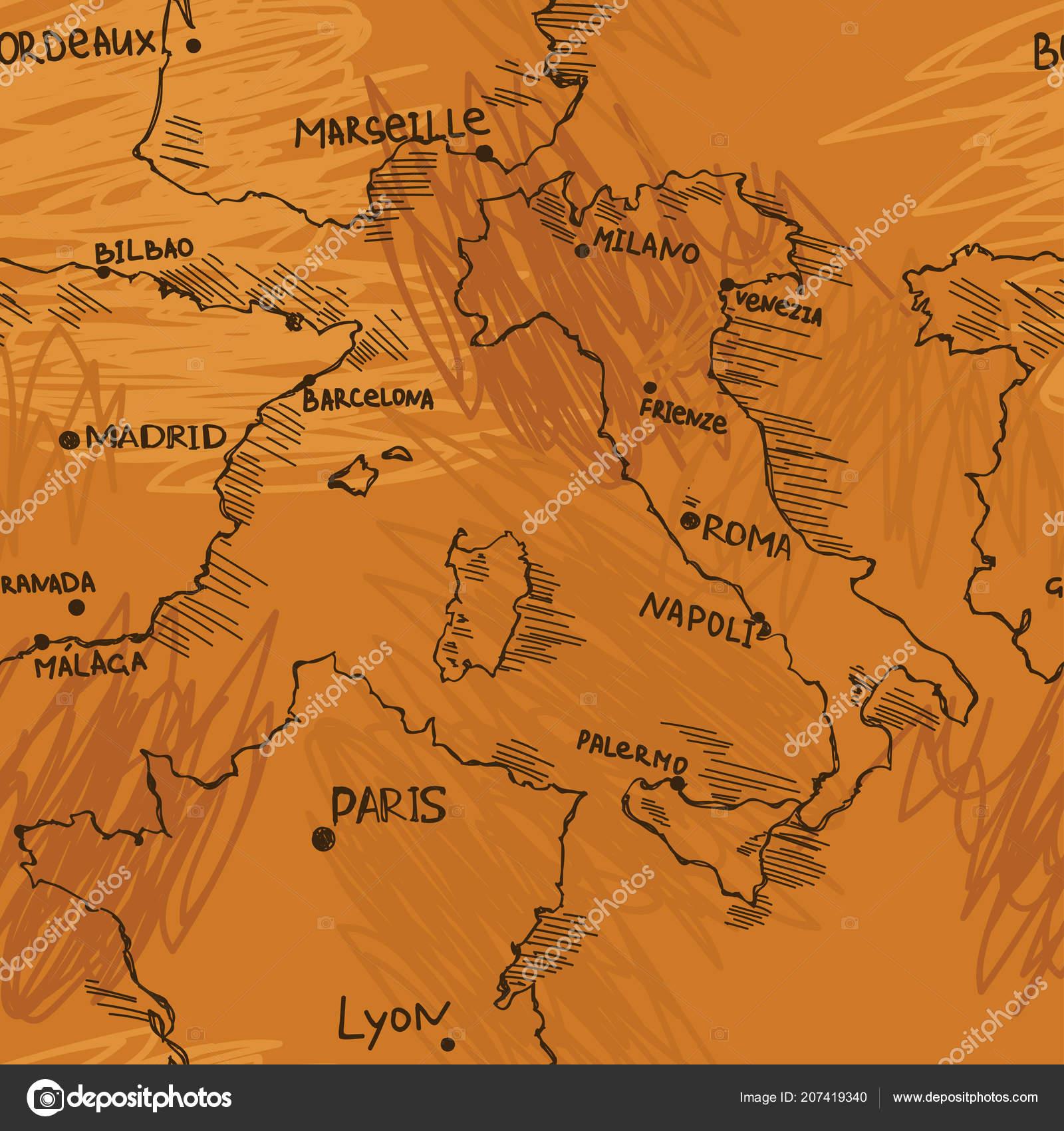 Karte Italien Frankreich.Nahtloses Muster Mit Europäischen Karten Stil Sketch Italien Spanien