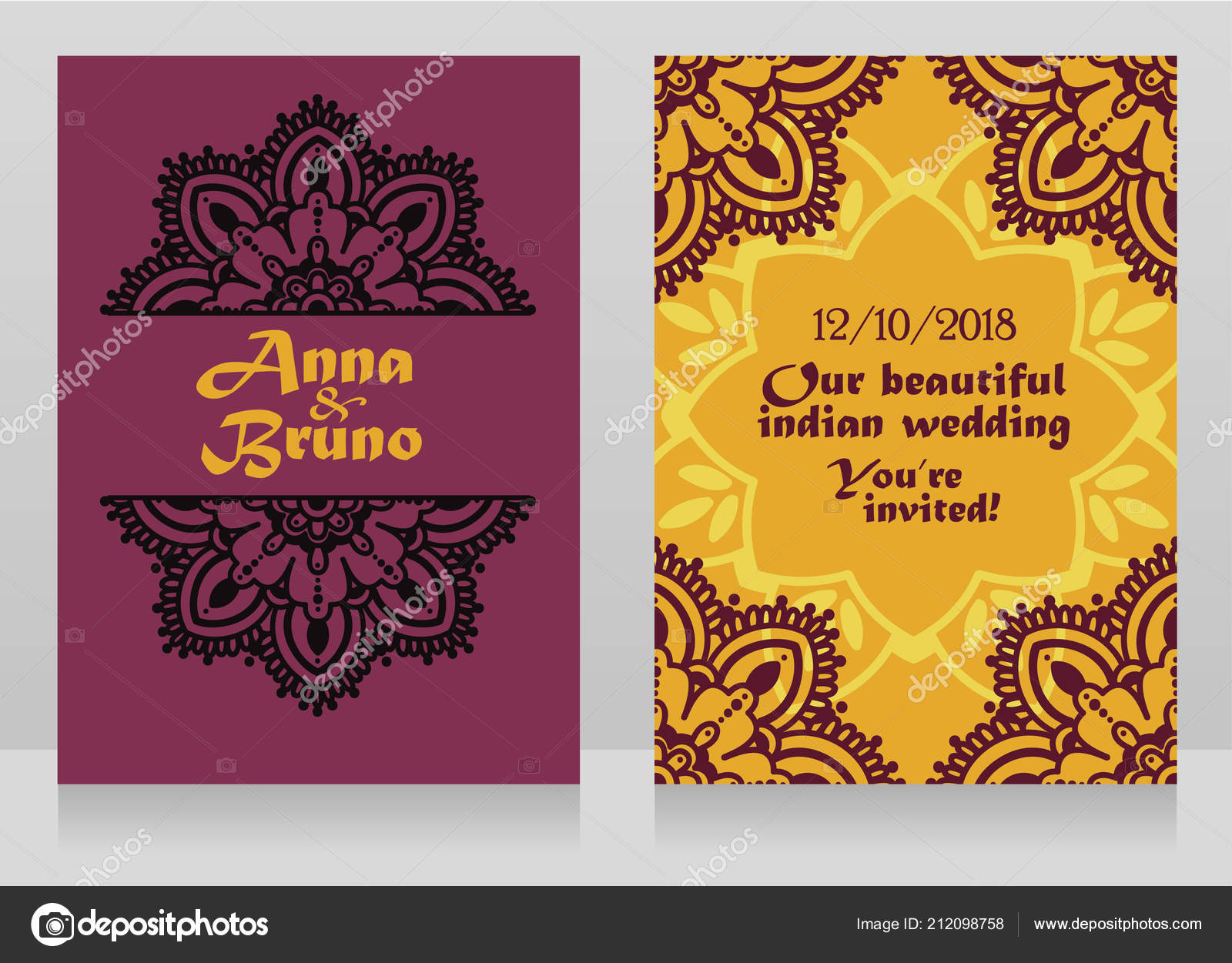two banners indian style wedding mandala ornament vector illustration stock vector c ghouliirina 212098758 https depositphotos com 212098758 stock illustration two banners indian style wedding html