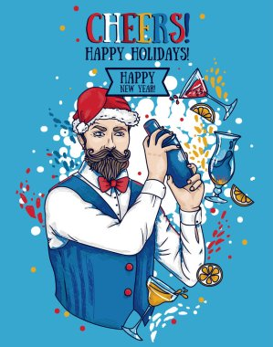 Poster for christmas or new year party with attractive bartender in Santa hat and cocktails, vector illustration