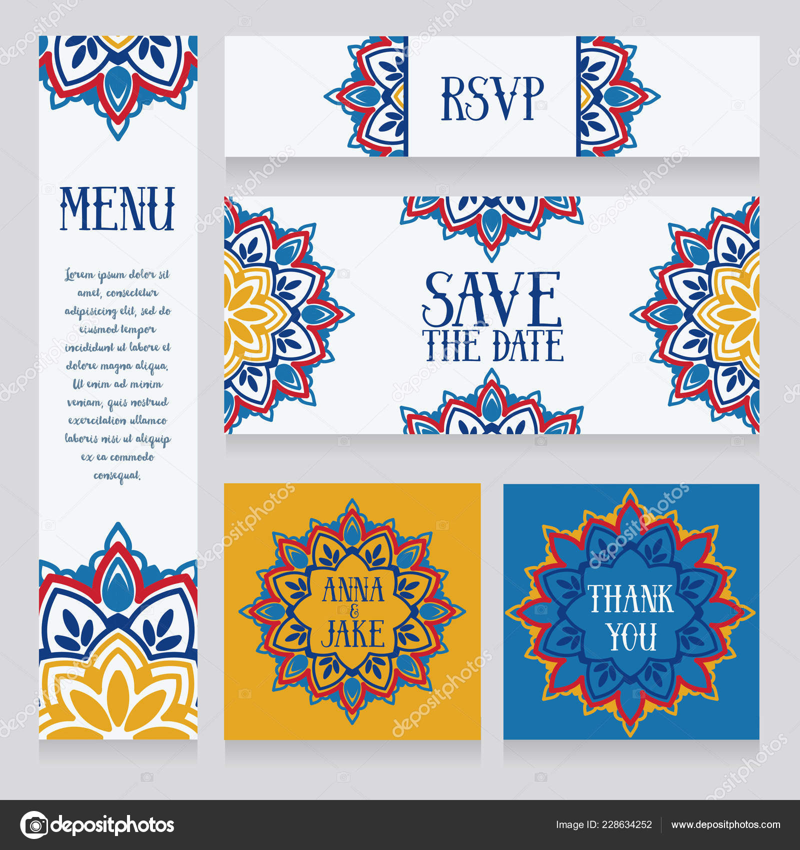 Satz Von Hochzeitskarten Orientalischen Stildesign Vektor
