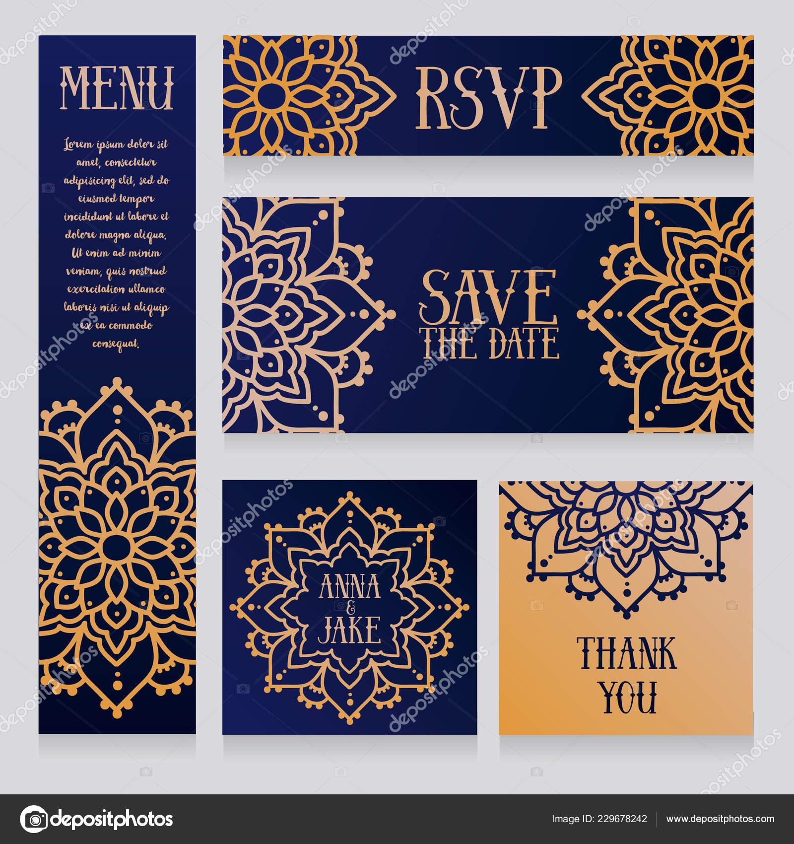 Satz Von Hochzeitskarten Mit Goldenen Mandala Ornamente Arabischen
