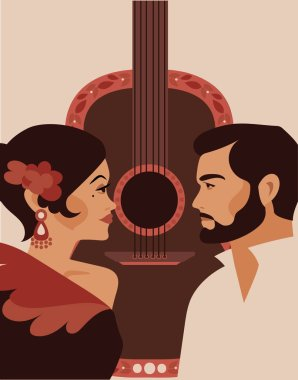 Poster for flamenco show and love, traditional gypsy couple and guitar, vector illustration