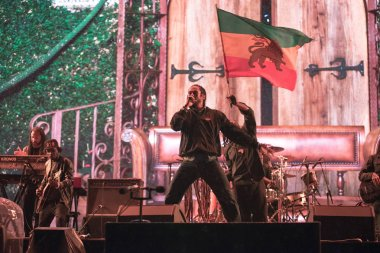 BONTIDA, ROMANIA - JULY 18, 2018: Damian Marley, four time Grammy award winner, and the son of reggae legend Bob perfoming a live concert at Electric Castle festival