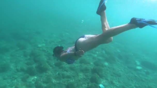 Víz alatti Nézd szexi lány-ban bikini snorkeling a trópusi tengervíz