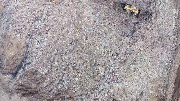 Environmental pollution.  Aerial top view from flying drone of large garbage pile. Garbage pile in trash dump or landfill
