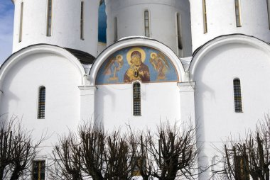 Architecture of Trinity Sergius Lavra, Sergiyev Posad, Moscow region, Russia. Color photo.