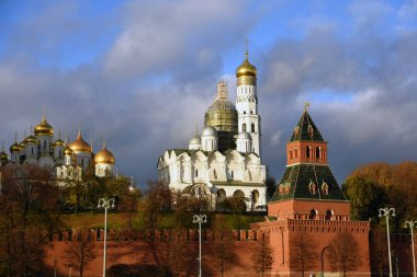 Moscow Kremlin architecture. Popular touristic landmark. Color photo