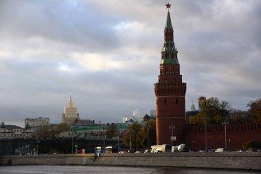 Moscow Kremlin architecture. Popular touristic landmark. Color photo