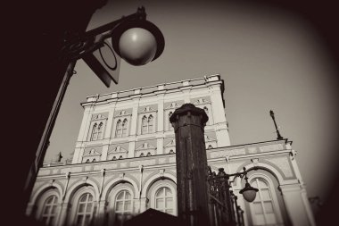 Moscow Kremlin architecture. Moscow Kremlin is a UNESCO World Heritage Site. Vintage style sepia photo.
